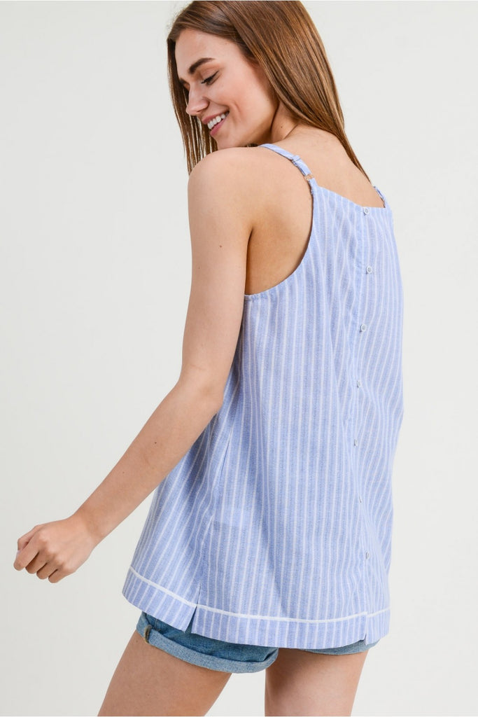 Sky Blue Striped Tank