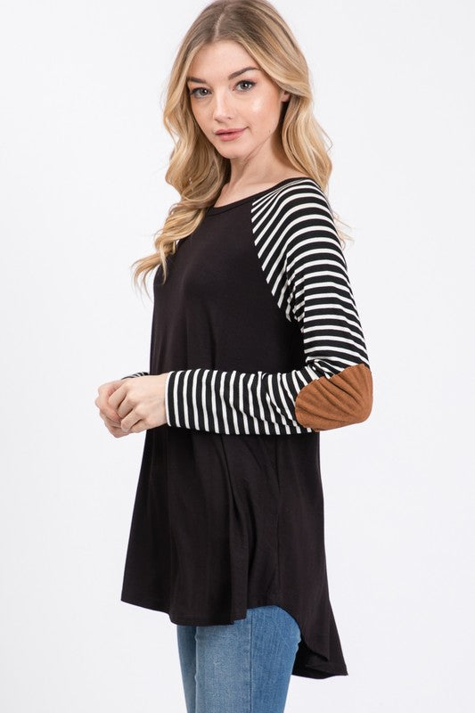 Striped Raglan Sleeved Top