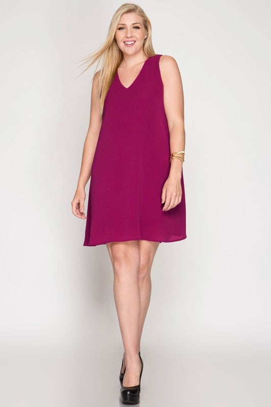 Chiffon Sleeveless V-Neck Swing Dress, Plus Only, 2 Colors