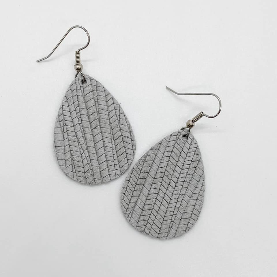 Palm Textured Leather Earrings
