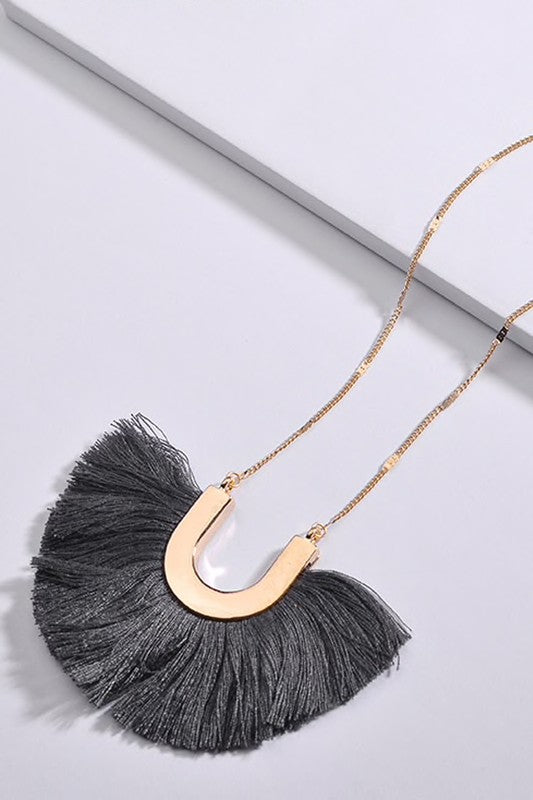 Charcoal Fan Tassel Pendant