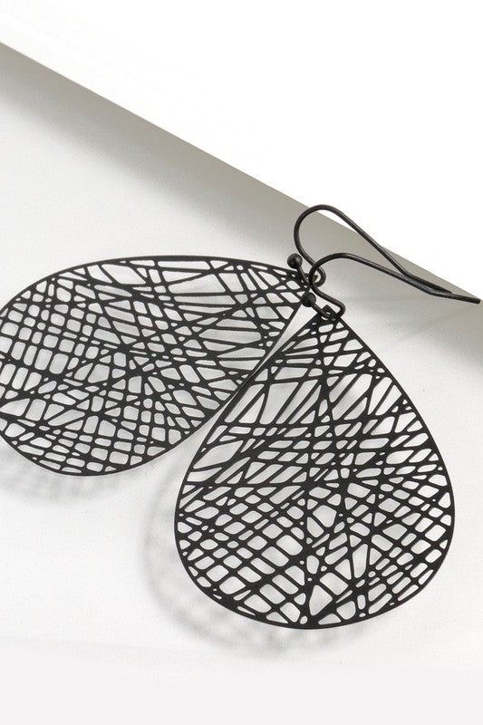 Birds Nest Punched Metal Earrings, 2 Colors