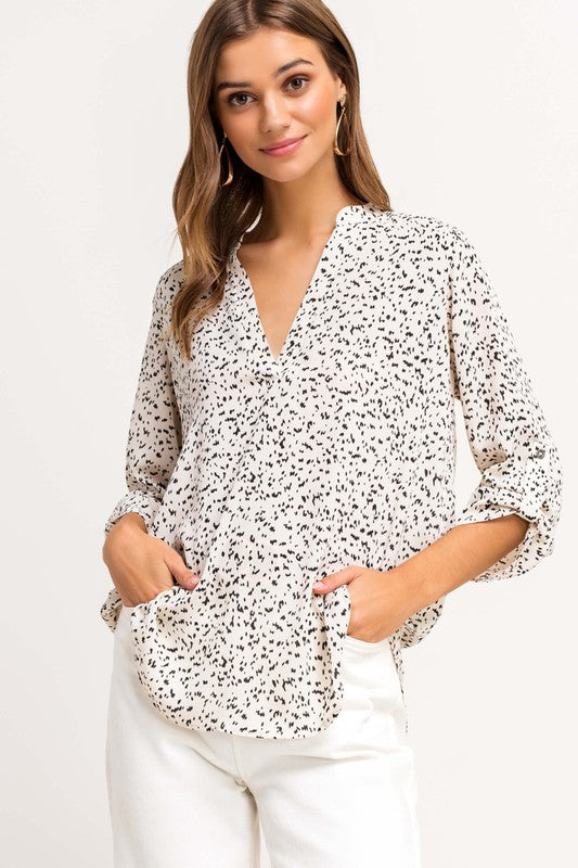 Polka Dotted V-Neck Blouse