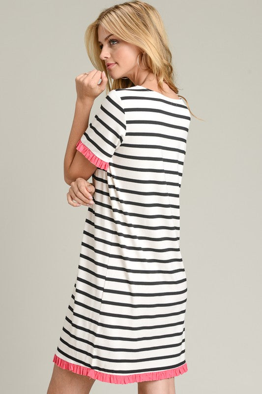 Color Spiked Striped Dress