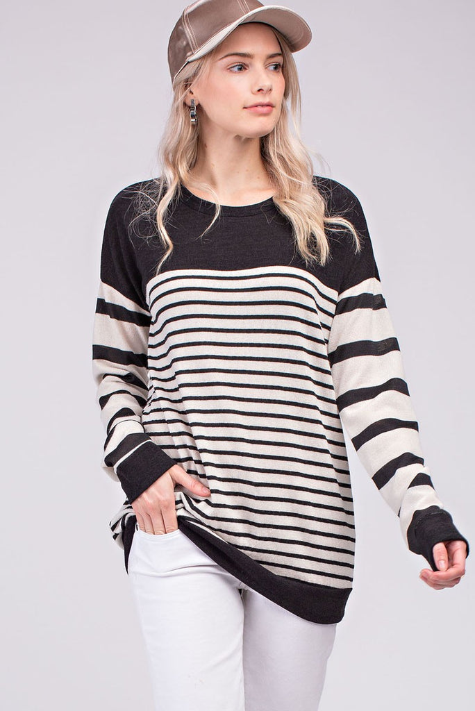 Striped Black & Ivory Top