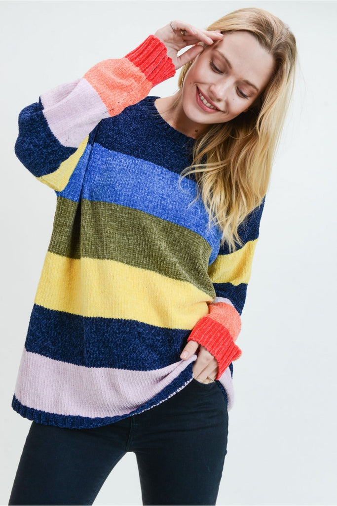 Striped Chenille Sweater - 2 Patterns