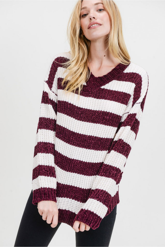 Wine Chenille Striped Sweater