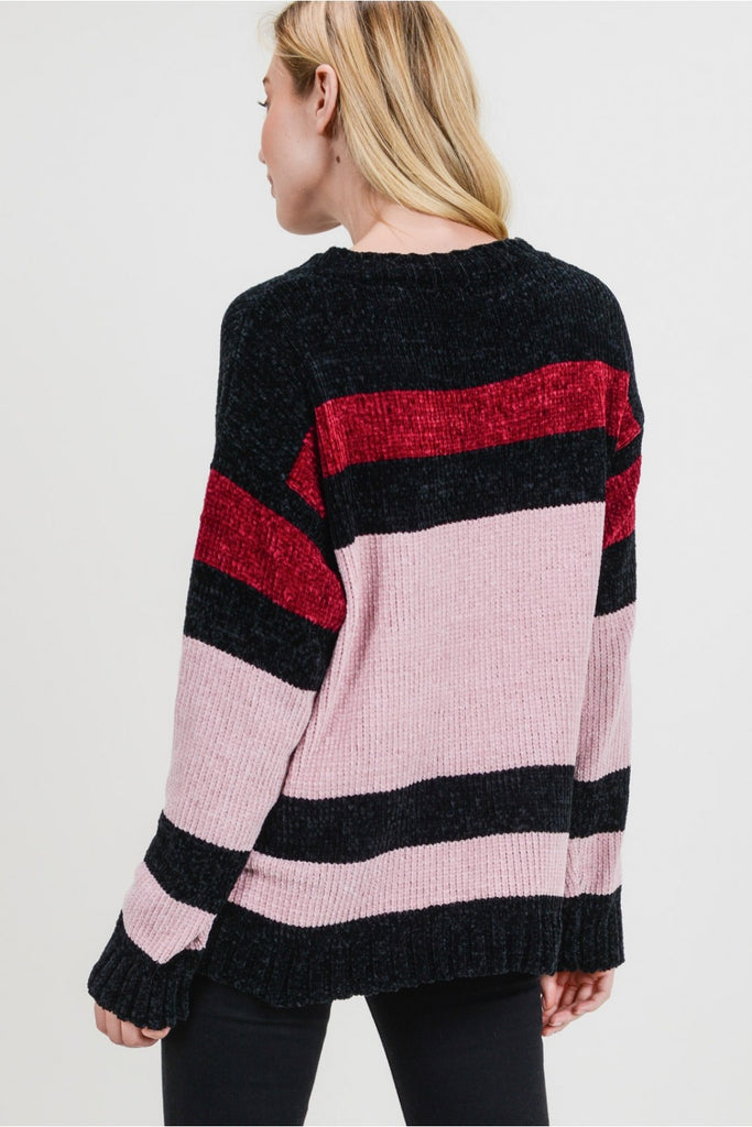Blushed Ruby Chenille Sweater