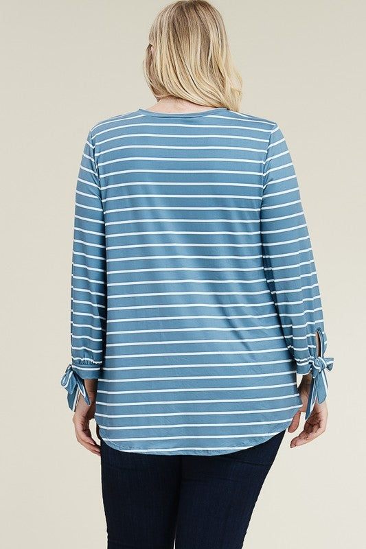 Tie Sleeve Striped Top, More Colors