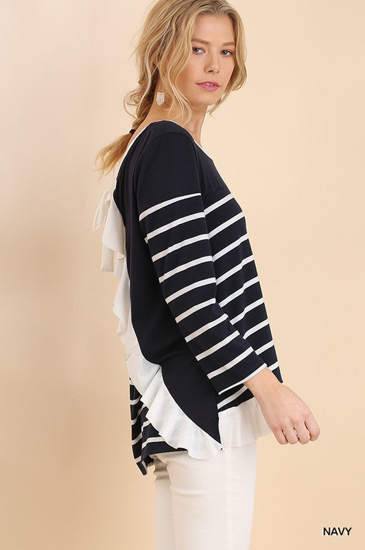 Ruffle Back Striped Top