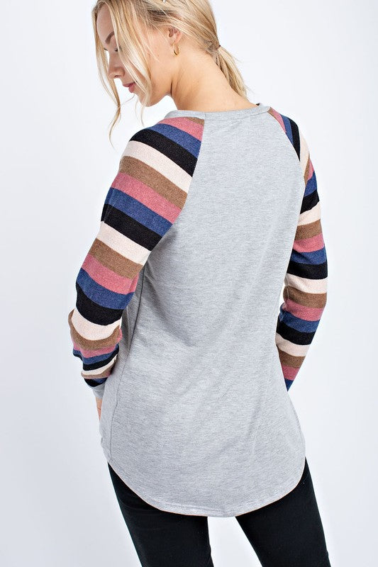 Mutli Colored Striped Sleeve Top