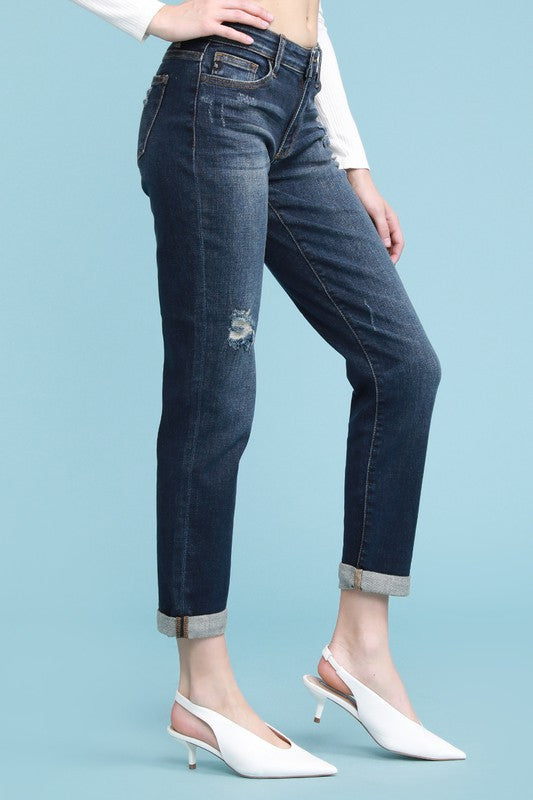 Lightly Distressed Straight Jeans
