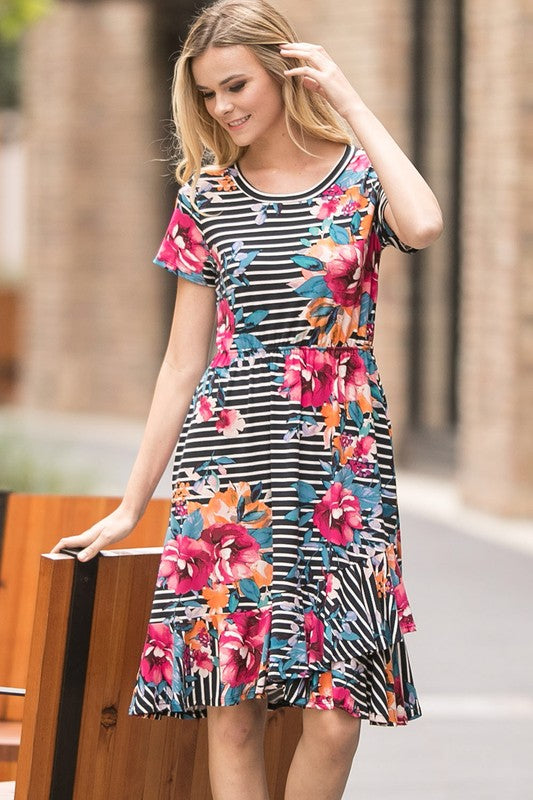 Black Floral Ruffle Hem Dress