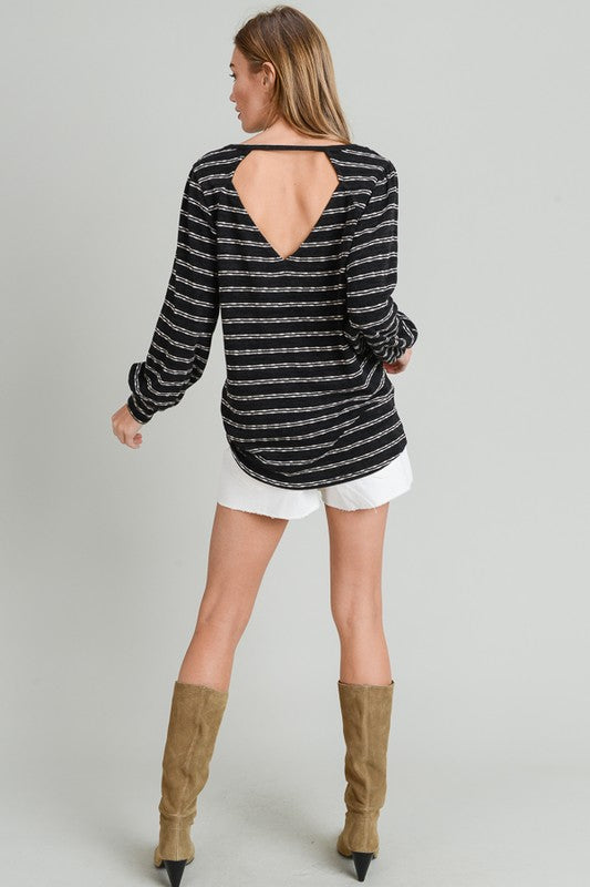 Black Striped V-Neck Sweater