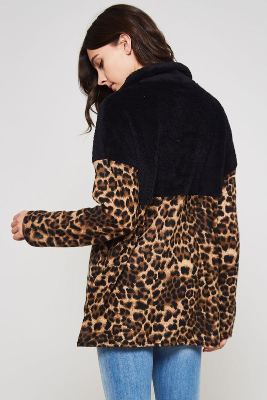 Black Leopard Fuzzy Zip Sweater