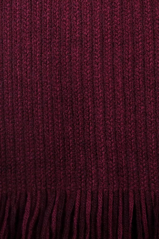 Burgundy Open Front Poncho