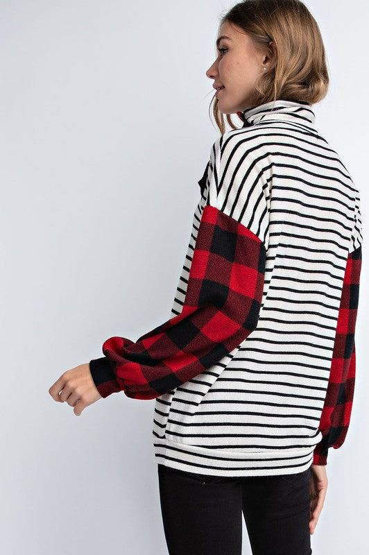 Red Buffalo Plaid Striped Top