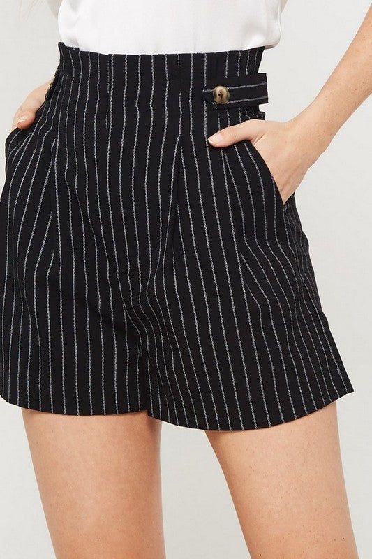 Pin Stripe High Waist Shorts