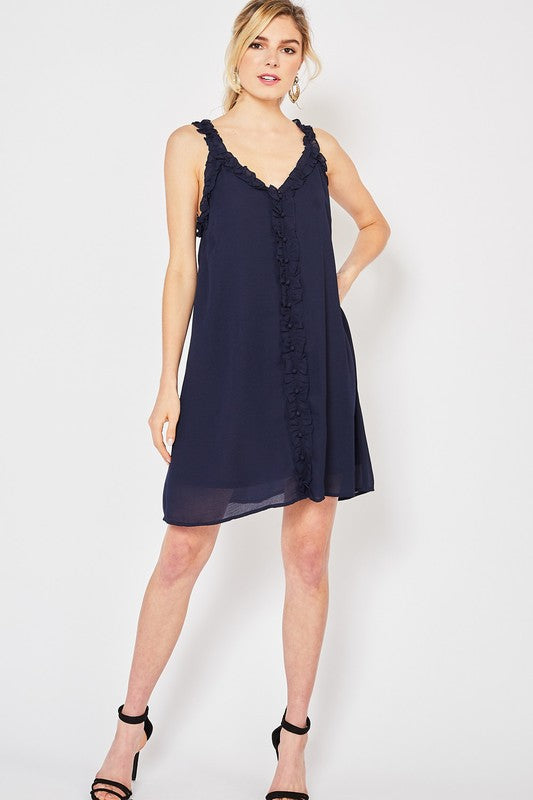 Navy Ruffled Button Up Dress