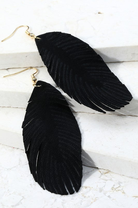 Leather Feather Long Earrings