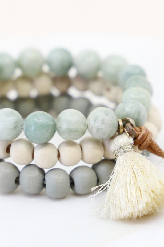 Wooden Beaded Tassel Bracelet Set