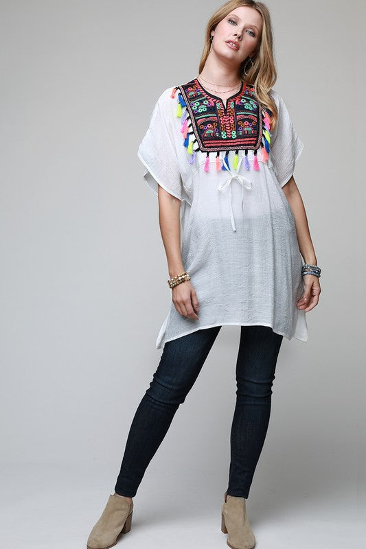 Dashiki Embroidered Cover Up