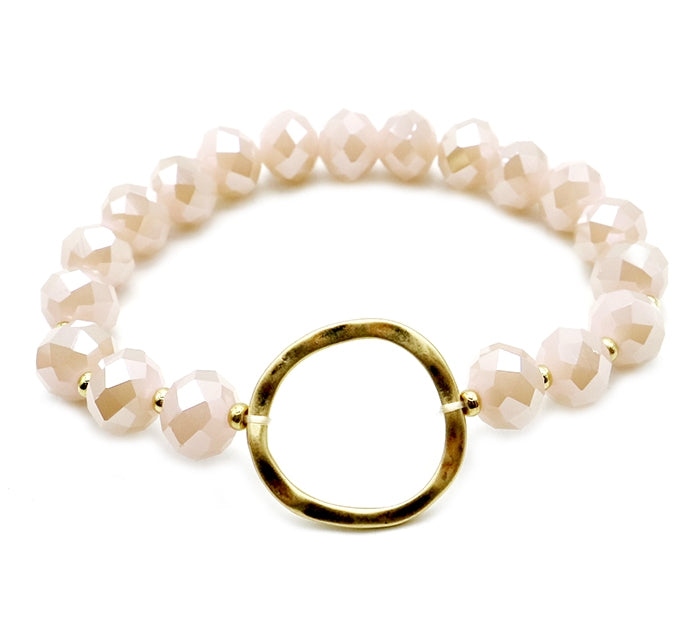 Gold Circle Beaded Bracelet, 6 Colors