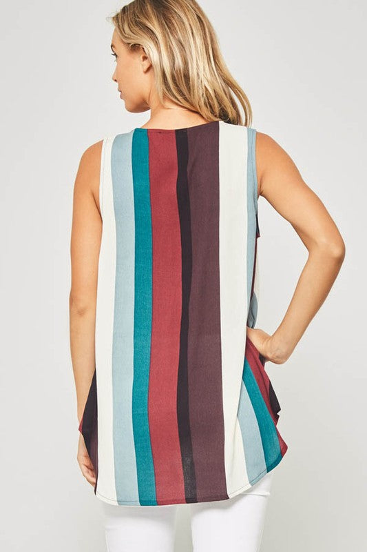 Bold Stripe Sleeveless Blouse