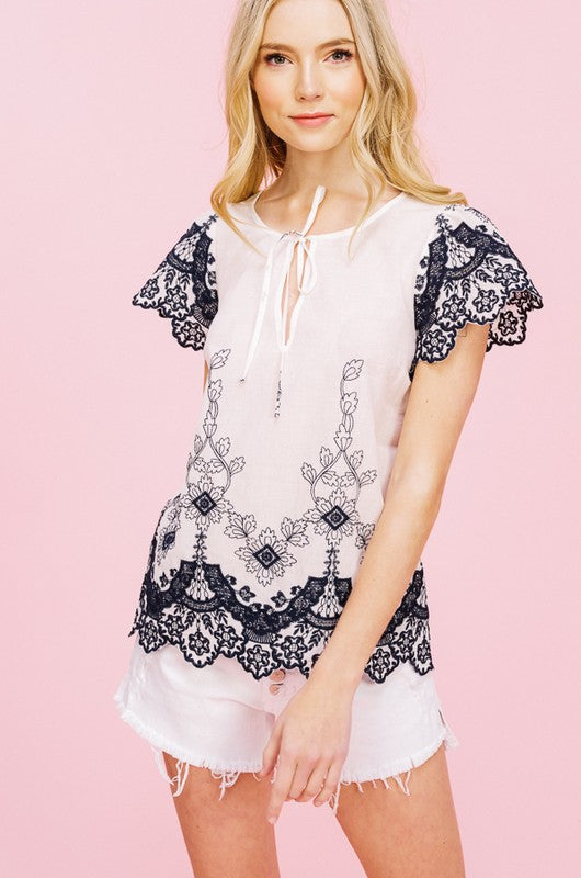 Embroidered Cap Sleeve Blouse