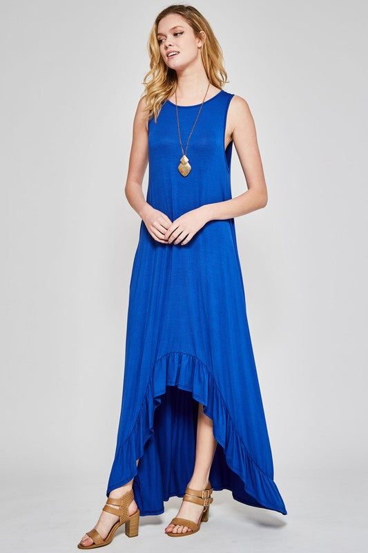 High Low Ruffle Maxi Dress - 2 Colors