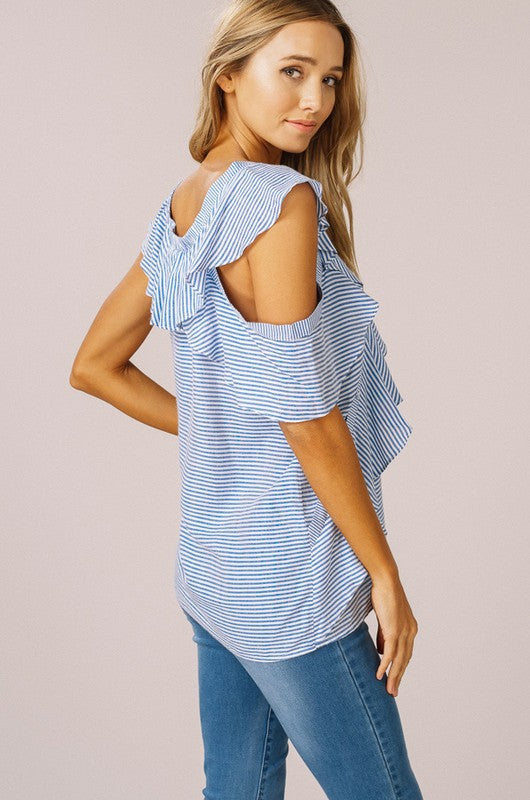 Asymetrical Striped Cold Shoulder