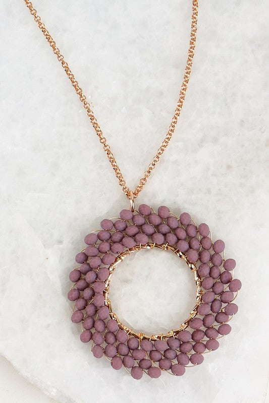 Crystal Beaded Circle Necklace - 2 Colors