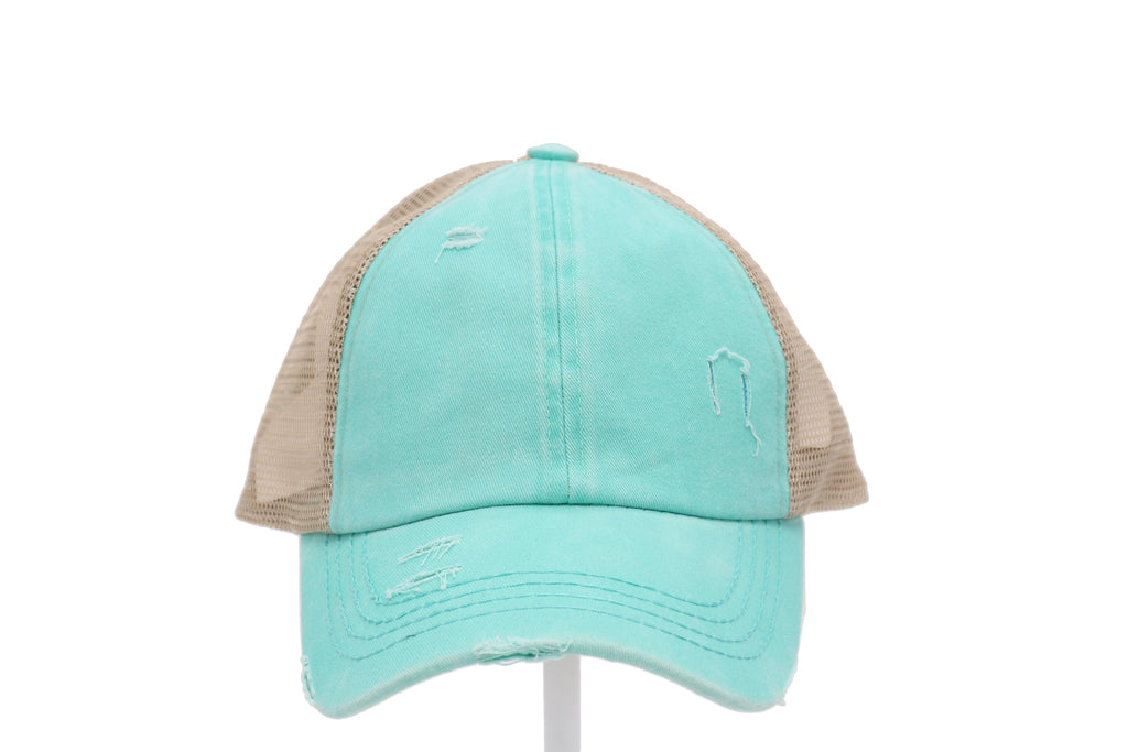 CC High Pony Cap, Distress Denim