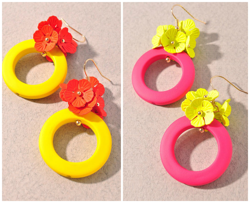 Bright Flower Hoops