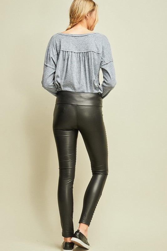 Faux Leather Moto Jeggings