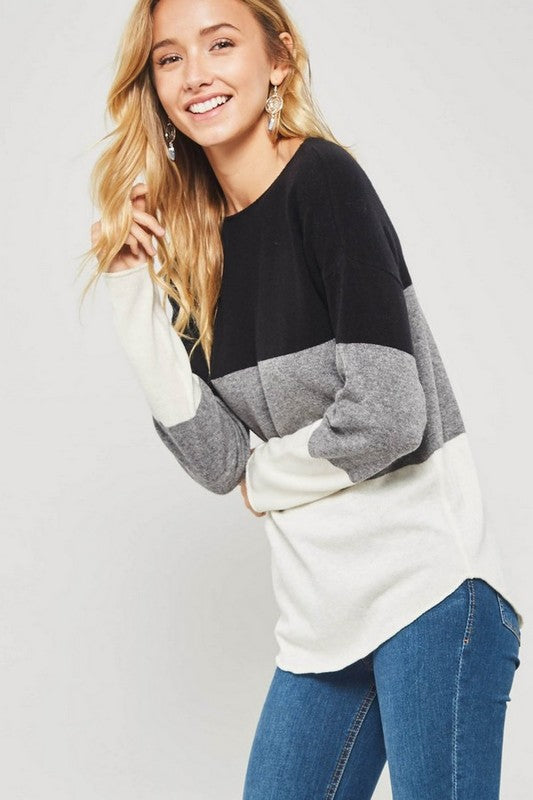 Black & White Colorblock Sweater