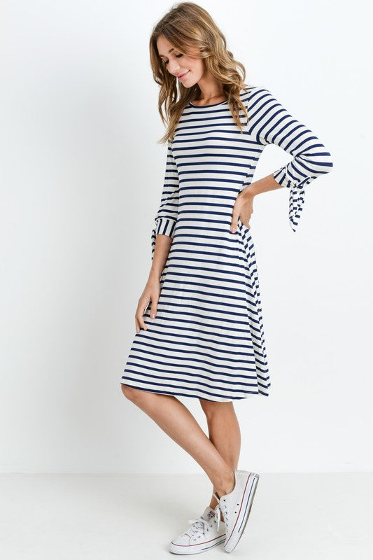 Navy & White Striped Tie Sleeve Dress