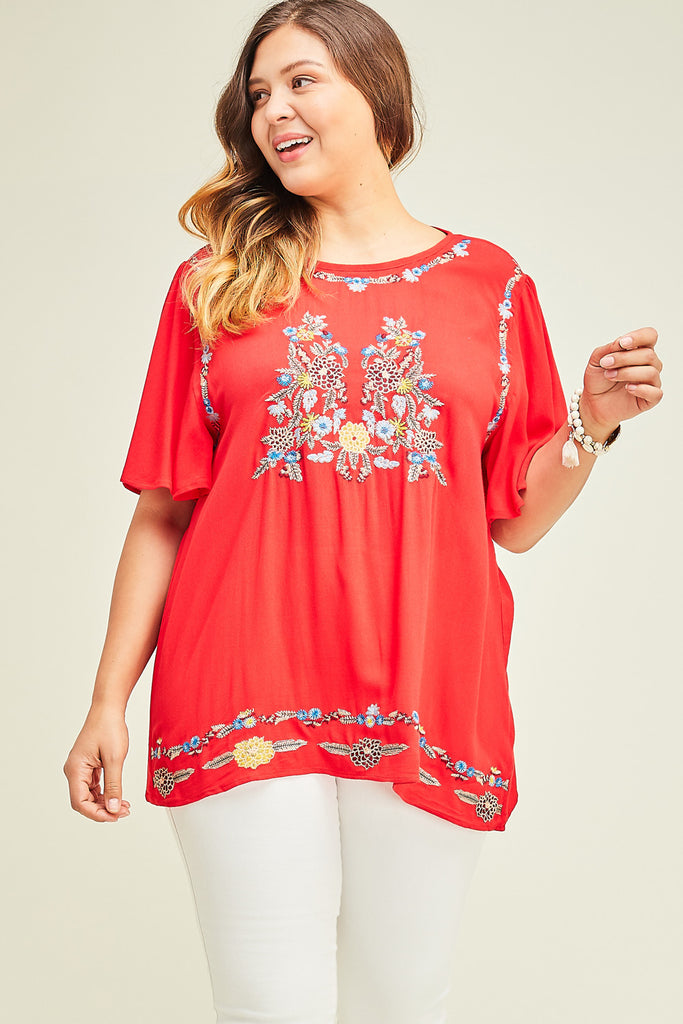 Red Embroidered Floral Top