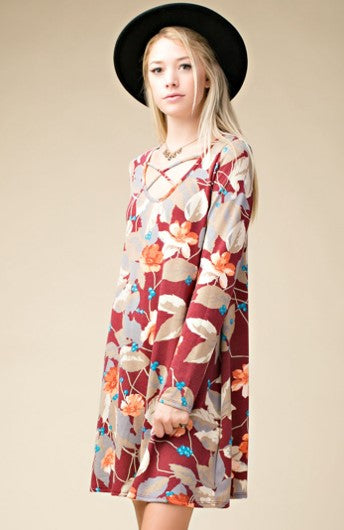 Leaf Print Knit Dress