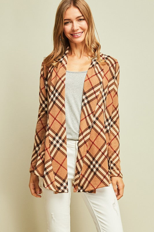 Plaid Draped Cardigan - 2 Colors