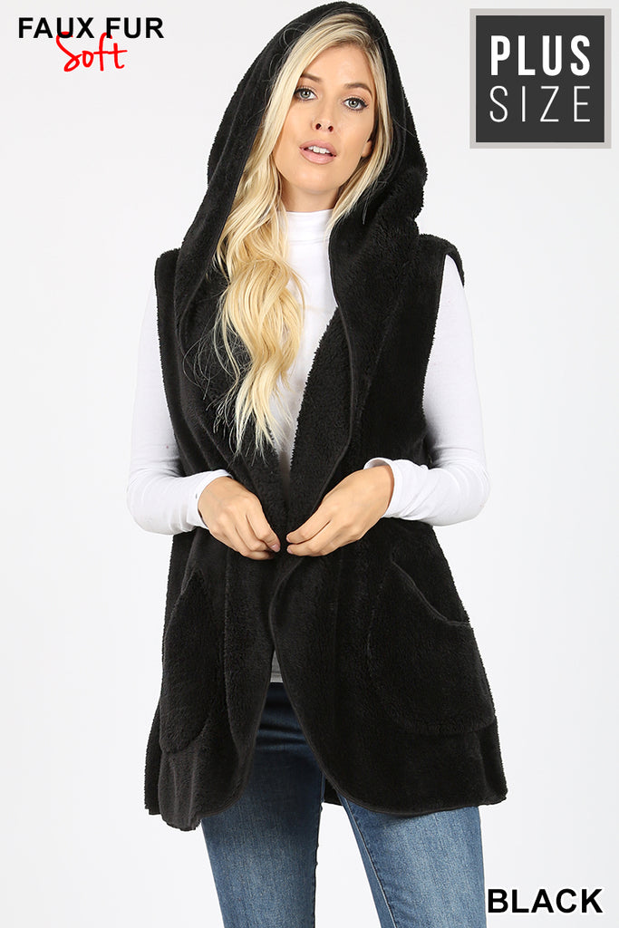 Furry Vest, with Hood