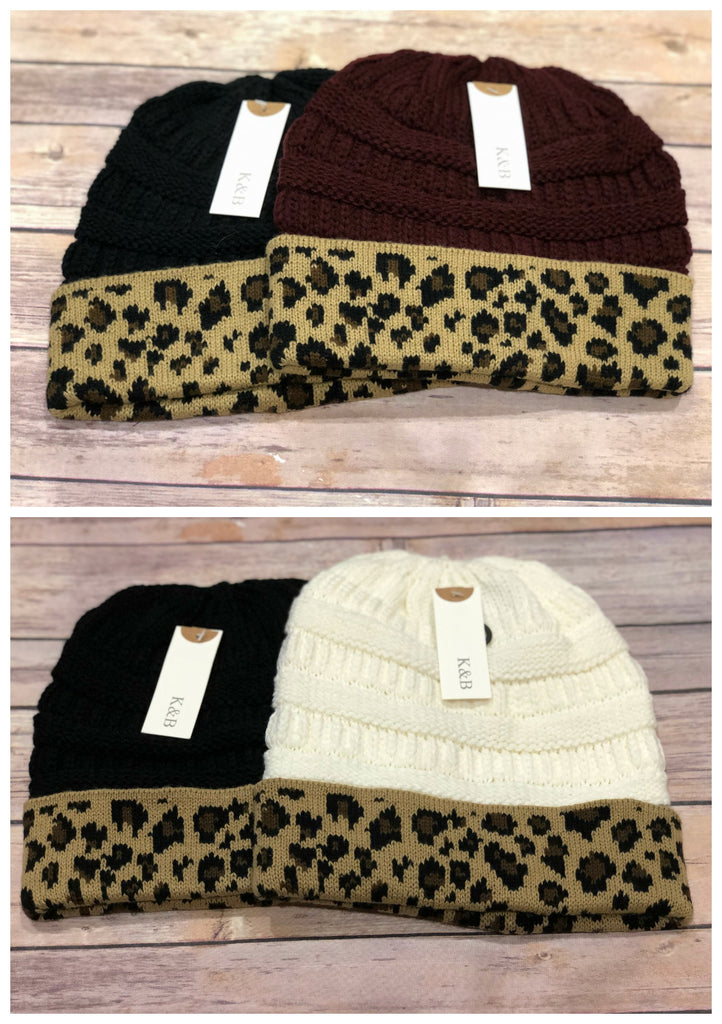 Leopard Trim Beanies and Ponytail Beanies