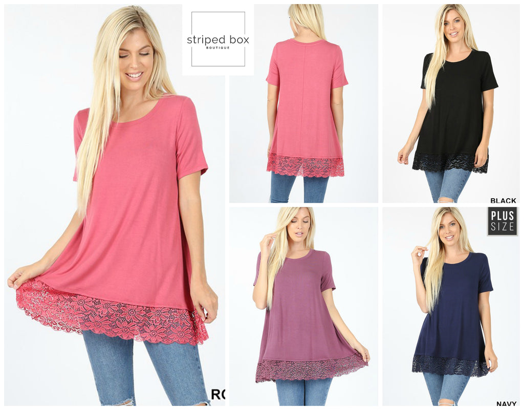 Lace Trim T, 4 Colors