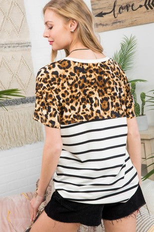 Peach Leopard Top