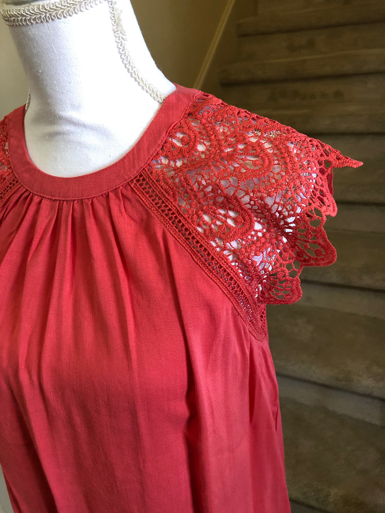 Coral Lace Sleeve Top