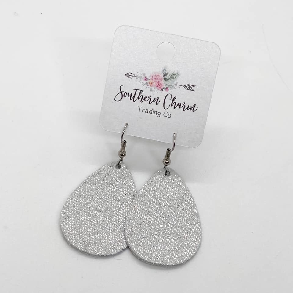 "1.5"" Shimmer Leather Earrings, 2 Colors"