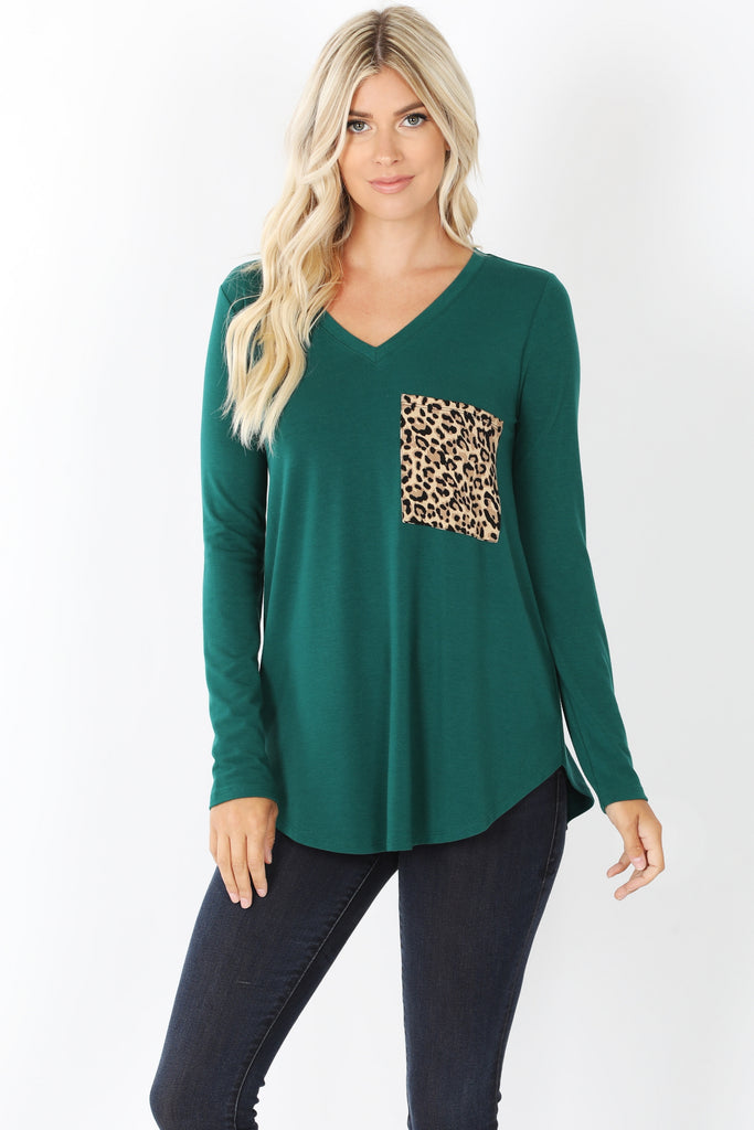 Leopard Pocket Long Sleeve T-Shirt