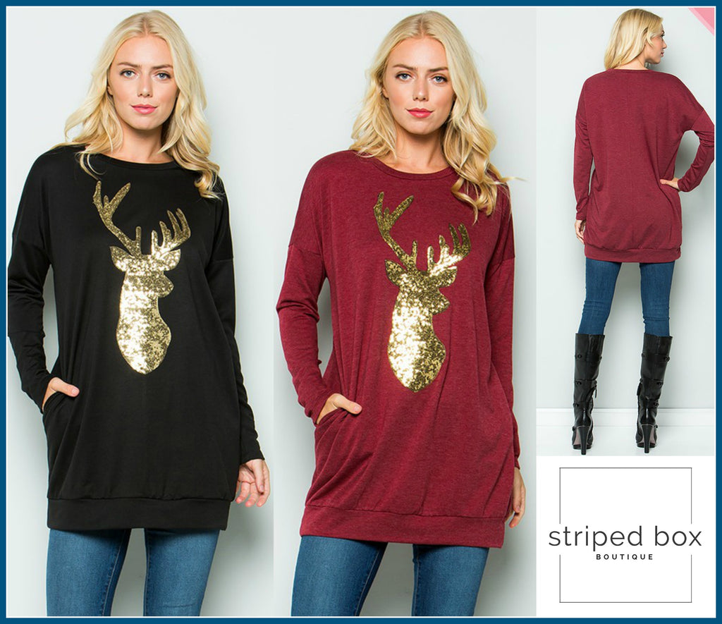 Reindeer Sequin Tunics, 2 Colors