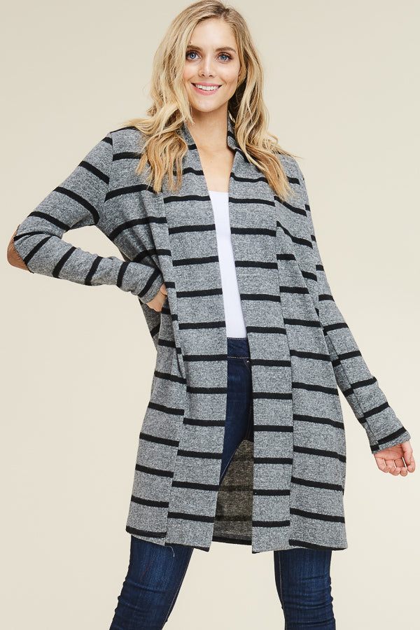 Grey & Black Striped Cardigan