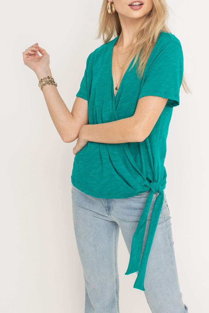Emerald Wrap Knit Top